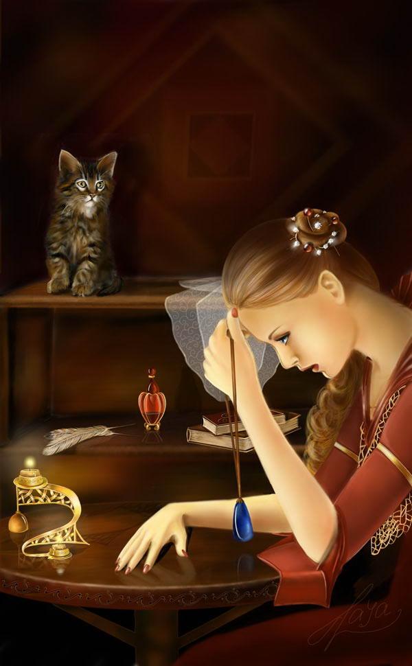 Рисованные коты и кошки